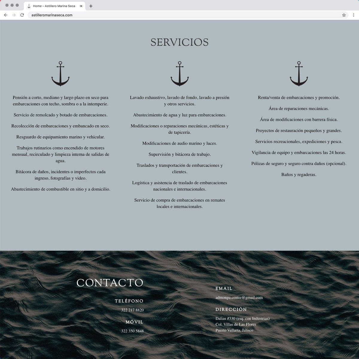 Astillero Marina Seca Web Design - Desktop