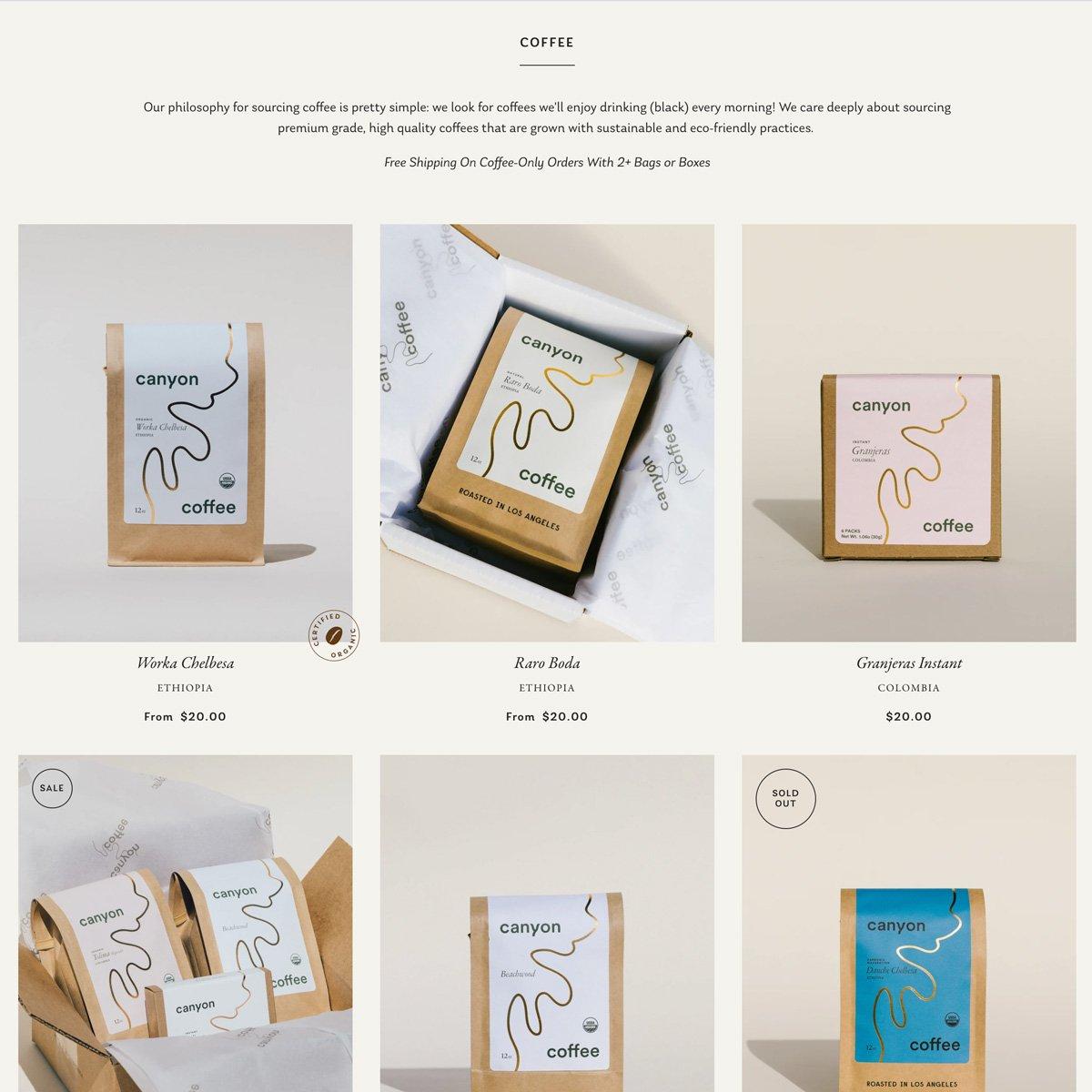 Canyon Coffee Web Design - Desktop - Category