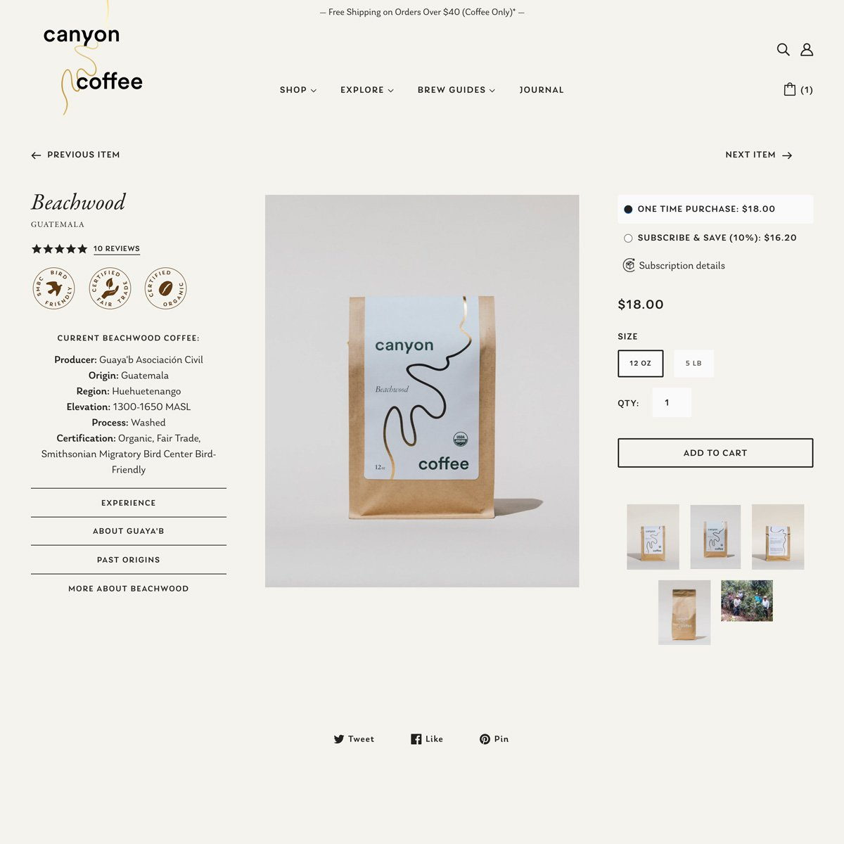 Canyon Coffee Web Design - Desktop - Product Page