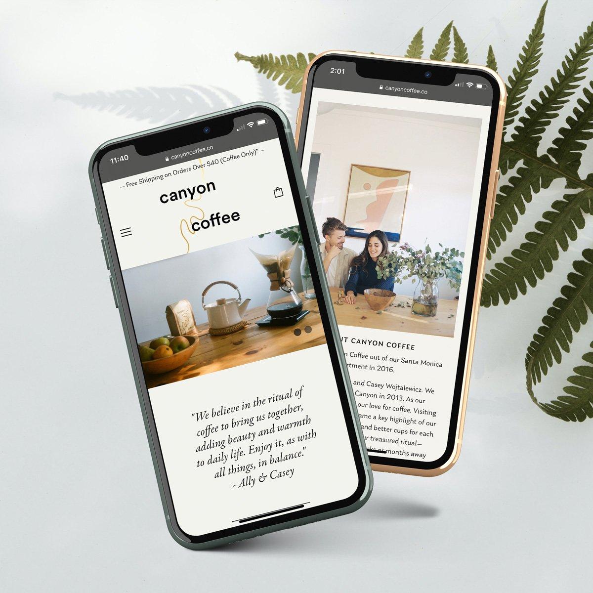 Canyon Coffee Web Design - Mobile