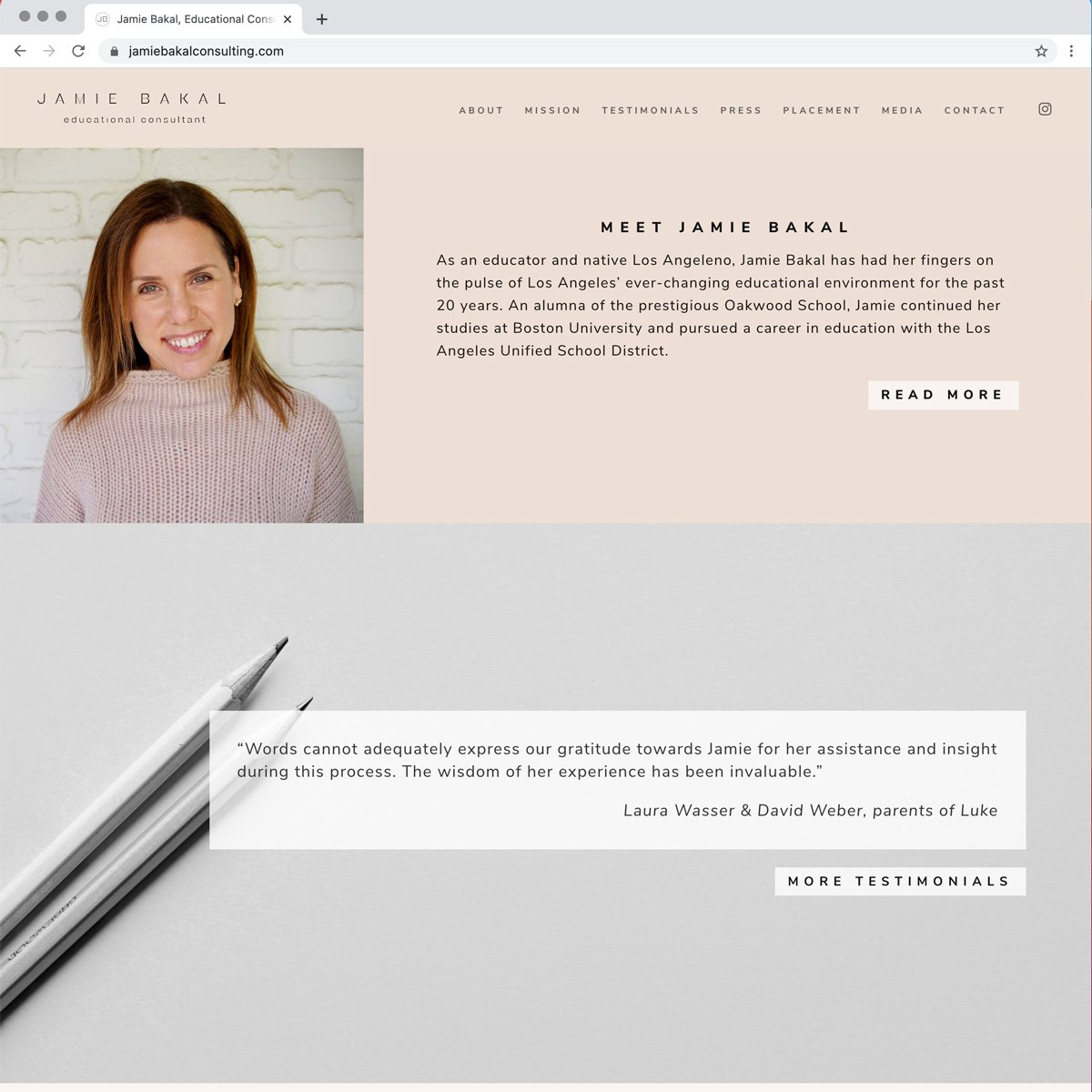 Jamie Bakal, Web Design - Desktop