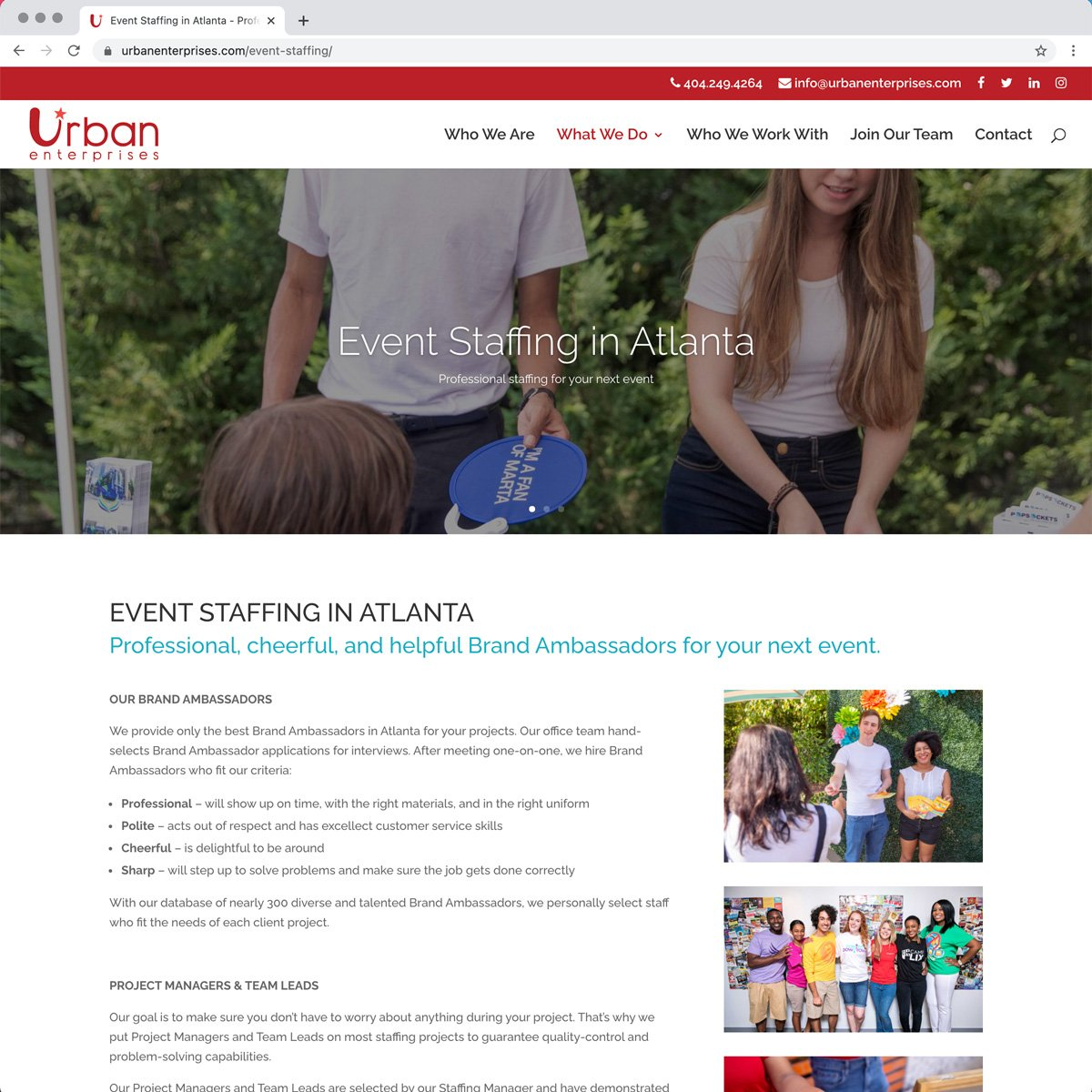 Urban Enterprises Web Design - Desktop